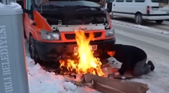 トルコ人「寒すぎてエンジンがかからない時は焚き火!これ最強」