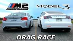 テスラ モデル3 vs BMW M2 コンペティション 加速対決動画