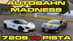 フェラーリ 488 ピスタ vs マクラーレン 720S アウトバーン加速対決動画