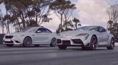 BMW M2 コンペティション vs トヨタ スープラ ドラッグレース対決動画