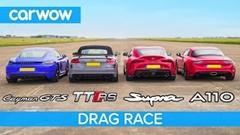 トヨタ スープラ vs ポルシェ ケイマン GTS vs アウディ TT RS vs アルピーヌ A110 ドラッグレース動画