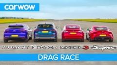 トヨタ スープラ vs テスラ モデルS vs ジャガー I-PACE vs アウディ e-tron ドラッグレース動画
