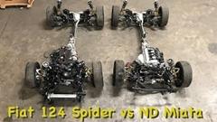 マツダ ロードスターとフィアット 124 スパイダーのドライブトレインを並べて比較してみた動画