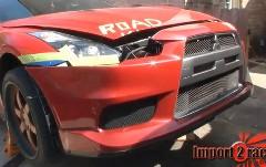 日産 GT-R に三菱 ランエボX のフロントマスクを付けてみた動画