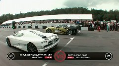 シボレー コルベット ZR1改 745馬力 vs ケーニグセグ CCXR 1024馬力加速対決動画 他