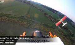 ラジコン飛行機同士が衝突しちゃう瞬間のオンボード動画