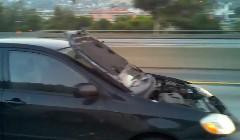 ええぇ?ボンネットがめくれ上がってるのに高速道路を疾走しちゃう面白動画