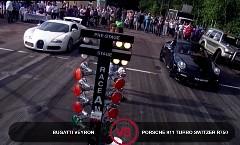 ブガッティ ヴェイロン vs ポルシェ 997 ターボ 750馬力 加速対決動画