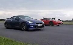 フェラーリ 458 イタリア vs シボレー コルベット ZR1 vs 日産 GT-R 加速対決動画