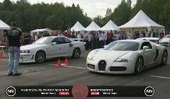 ブガッティ ヴェイロン vs 日産 R34 スカイライン GT-R 加速対決動画