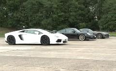 ランボルギーニ アヴェンタドール vs ポルシェ 997 GT2 RS vs メルセデスベンツ SLS AMG 加速対決動画