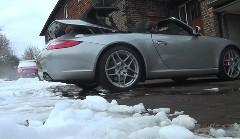 雪だからポルシェ 997 カレラS カブリオレでドライブしちゃうぜ!っていう動画