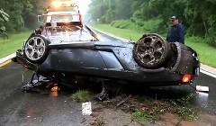 あわわわわ!ランボルギーニ ガヤルド スパイダーが横転事故を起こしちゃった動画