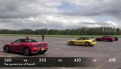 4世代のV8フェラーリを集めて加速対決してみた動画 他ポルシェ