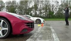 フェラーリ 599GTO vs FF フロントエンジンV12気筒モデル 1マイル加速対決動画