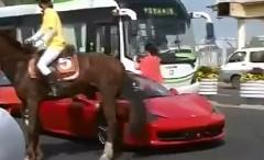 フェラーリ 458 イタリアが馬に蹴られちゃう動画