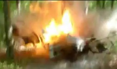 森の中でトラックを爆発させてみた動画