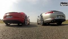 ポルシェ 991 カレラ カブリオレ vs ボクスターS 981 オープンポルシェ加速対決動画