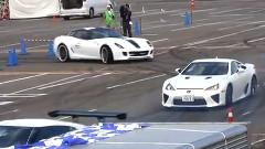 レクサス LFA、フェラーリ 599、日産 GT-R が同時ドリフトしちゃう動画