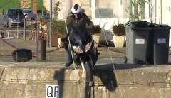 港を走ってたヤマハ FJR1300 が落下しちゃう動画