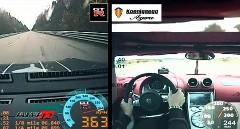 ケーニッグセグ アゲーラR 1100馬力 とチューンド GT-R 1700馬力の加速力を比較してみた動画