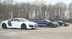 アウディ R8 V10 vs ポルシェ 997 ターボS vs 日産 GT-R ハイパワー4WD車加速対決動画