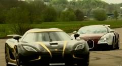ブガッティ ヴェイロン vs ケーニグセグ アゲーラS 1000馬力超市販車対決動画