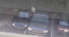 枠からはみ出して駐車した迷惑ドライバーの自業自得動画