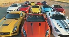 打倒GT-R! GT-R vs SLS BS vs R8 vs バイパー vs M6 vs E63S AMG vs 911 カレラ4S vs ケイマンS vs コンチネンタル vs ヴァンキッシュ vs ジャガー F vs フォーカスST 12台同時ドラッグレース動画