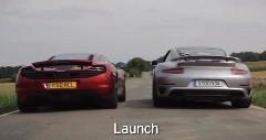 ポルシェ 991ターボS vs マクラーレン MP4-12C 0-96km/h 加速対決動画