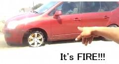 ただのパンクだと思ったら車両火災になっちゃう動画
