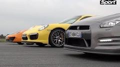 日産 GT-R vs ポルシェ 991ターボS vs マクラーレン MP4-12C 0-1000m 加速対決動画