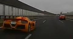 伊勢湾岸道でグンペルト アポロと日産 GT-R にぶち抜かれちゃった動画
