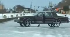 超大径ホイールでアイスバーンを走ってみた動画