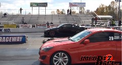 日産 GT-R vs ヒュンダイ ジェネシスクーペ ゼロヨン加速対決動画