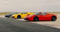 真のオープンカー最速はどれだ?マクラーレン MP4-12C スパイダー vs フェラーリ 458 スパイダー vs アウディ R8 V10 スパイダー オープンカー同士の面白ドラッグレース動画