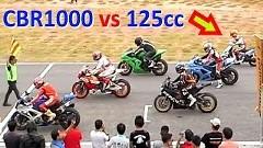 ホンダCBR1000 vs 125ccスクーター ミニサーキット対決動画