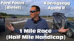 1140馬力 ケーニグセグ アゲーラR vs 115馬力 フォード フォーカス ワンマイルドラッグレース動画