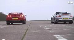 日産 GT-R vs ポルシェ 991 ターボ カブリオレ ゼロセン加速対決動画
