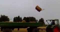 離れ業すぎる牧草の収穫風景
