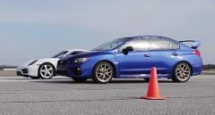 新型スバル WRX STI vs ポルシェ ケイマン ボクサーエンジン搭載車1マイル加速対決動画