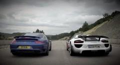ポルシェ 991 ターボ vs 918 スパイダー 加速対決動画