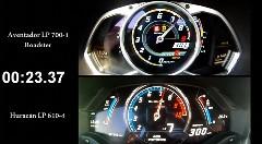 ランボルギーニ アヴェンタドール vs ウラカン 0-300km/h メーター比較動画
