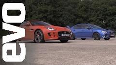 新型スバル WRX STI vs ジャガー F-type V6 S 加速対決動画