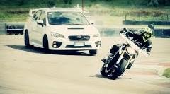 スバル WRX STI とヤマハ MT-09 がサーキットで競演しちゃう動画