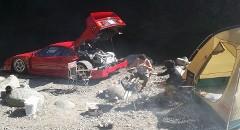 スゲー!本物のフェラーリ F40でキャンプ場に行ってBBQしちゃう猛者が現れた!