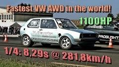 1100馬力 フォルクスワーゲン ゴルフ vs 1300馬力 日産 GT-R 加速対決動画