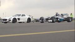 メルセデス SLS AMG ブラックシリーズ vs F1マシン 加速対決動画