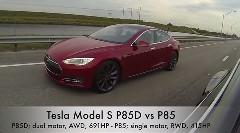 テスラ モデルS P85D 691馬力 vs P85 415馬力 加速対決動画
