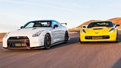 日産 GT-R NISMO vs シボレー コルベット Z06 どっちが速いんだ動画